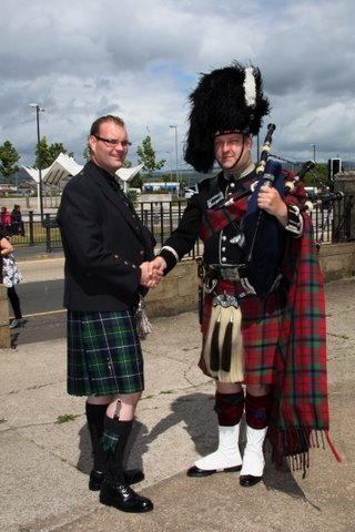 Simon Ross Hutton and piper Alistair Stewart McNeil at Simon's Wedding.